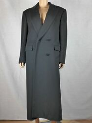 Burberry 1980s black cashmere and wool double-breasted women's evening top coat.