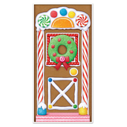 Gingerbread House Door Cover Indoors Outdoors Wall Christmas Party Decoration