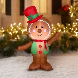 Christmas Inflatable Man Outdoor Airblown Decoration Gingerbread Party Yard 4'