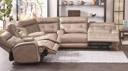 Jacob Power Motion Sectional Taupe Headrest Tufted Wedge Sofa Console Couch Home