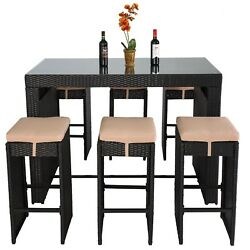 Outdoor Patio Furniture Set 7pc Rattan Wicker Bar Dining Table US New