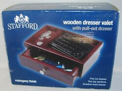 Stafford Wooden DRESSER VALET 2 Top Sections Pull Out Drawer Mahogany Finish NIB