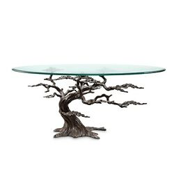 Coastal Cypress Tree Metal Glass Coffee Table Sculpture Chic Beach Decor