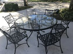 7 Piece Wrought Iron Glass Outdoor Table And Chairs