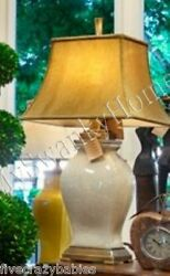 Posh IVORY WHITE Crackled Ceramic Table Lamp Large Cream Bronze GUMPS SF Horchow $312.40
