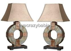Luxe STONE and COPPER Circle Table LAMP PAIR Set Outdoor Patio Art Deco Horchow