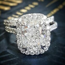 Stunning 1.90 Ct. Halo Cushion Cut Diamond Engagement Ring Only F VVS2 GIA 14K