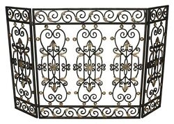 Burnished Gold Iron Gate Design 3 Panel Fireplace Screen47.25''W X 30.5''H.