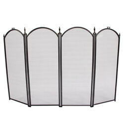 3 FOLD BLACK WROUGHT Fireplace Screen Classic Design Cottage Feel Iron and Metal