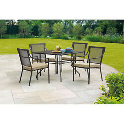 5 Piece Outdoor Patio Garden Furniture Steel Mesh Dining Table and 4 Chair Set