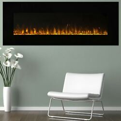 54 Inch Electric Fireplace Wall Mounted Modern Remote Control Black Glass Design