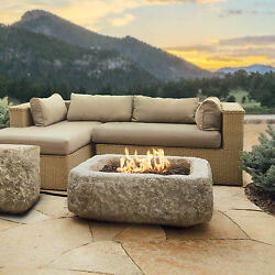 Real Flame Lp Firepit Antique Stone 50k btu Patio Deck Square Propane Fireplace