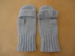 CALYPSO ST. BARTH GRAY CASHMERE FINGERLESS CONVERTIBLE GLOVES ONE SIZE