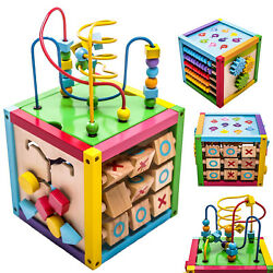 Play Cube Activity Center Colorful Wooden Learning Toy Kids Toddler Gift 6 in 1