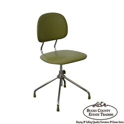 Mid Century Modern Chrome Swivel Base Green Desk Chair $635.00