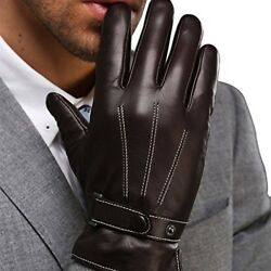 Mens Driving Gloves Leather Luxury Touchscreen Gloves Anniversary Gift For Men