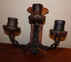 Antique Candle Wall Sconce  Hand-Carved Home Cabin decor