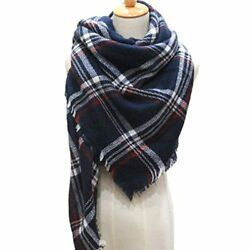 Large Soft Plaid Scarf Women Winter Knit Blanket Cashmere Feel Shawl and Wraps