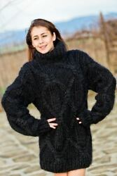 Custom Order Turtleneck Mohair and Cashmere SweaterVery Thick Hand Knitted T60
