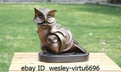 Western Bronze Home Style Art Decoration Sculpture  Two Marble Owl Statue