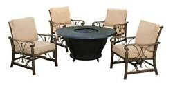 5-Pc Round Firepit Table Set in Antique Bronze [ID 3684224]