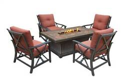 5-Pc Vienna Gas Firepit Table Deep Outdoor Seating Chat Set [ID 3684286]