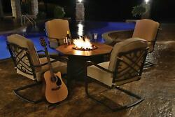 5-Piece Harmony Cast Aluminum Patio Chair and Gas Fire Pit Outdoor Furniture Set