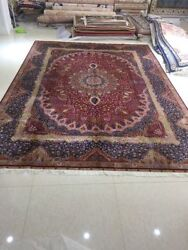 handmade rug silk carpet tradition hand knotted 9.2'X10.8'area rug Medallion A