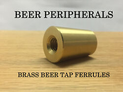 QTY 10 Solid BRASS Beer Tap Handle Ferrule 1inch Gold