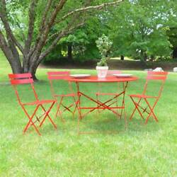 Outdoor Bistro Set Patio Table Garden Chairs Deck Yard Dining Folding Metal 5pcs