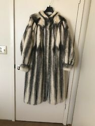 mink coat origin German size 1X white with black strips excellent condition
