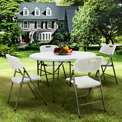 Portable Round Folding Table Dining Table and Chairs Set Outdoor Garden Patio