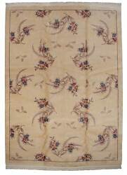 RRA 10x14 Chinese Contemporary Fern and Floral Ivory Rug 019442