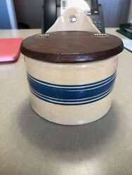 Antique Vintage Yellowware Yellow Ware Blue Band Salt Box - mint