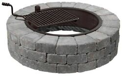 48 in. Outdoor Backyard Wood Burning Fire Pit Stone Rock Firepit Durable Cooking