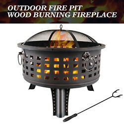 Outdoor Metal Steel Bowl Fire Pit Wood Burning Heater Table Backyard Patio