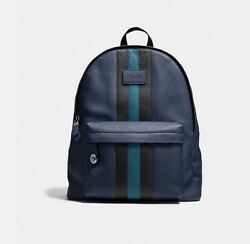 COACH Backpack Leather Campus Bag with Varsity Stripe and Laptop Sleeve