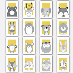 Art Print FOREST ANIMAL SKETCH Picture Poster YELLOW amp; GREY Nursery Baby Wall GBP 14.50
