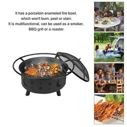 BBQ Round Steel Fire Pit Bowl Wood Burning Fireplace Outdoor Patio Backyard