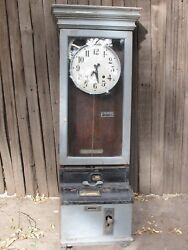 Antique Time Clock  Wood Case Wall Mount