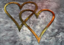 Double Hearts Metal Wall Accents Copper Bronze 11quot; tall $19.98