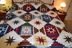 NEW Amish Handmade Quilted Sawtooth Log Cabin 108W x 114L