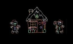 Gingerbread Scene House Christmas Outdoor LED Lighted Decoration Steel Wireframe