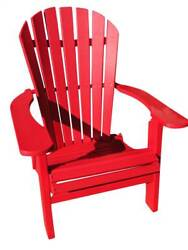 Phat Tommy Recycled Poly Resin Folding Deluxe Adirondack Chair in Red [ID 89306]