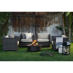 FACTORY NEW Patio Set Wicker Chat Set w Fire Pit Table 300 lb weight capacity
