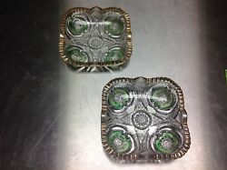 BEAUTIFUL SET OF VINTAGE CRYSTAL GLASS CANDY DISHES OR ASHTRAYS GREEN AND GOLD $19.99