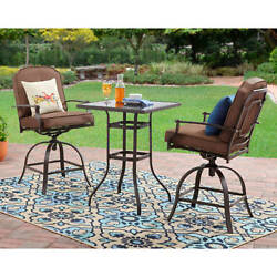 Patio Furniture Set 3 Piece Steel Outdoor Bistro Counter Height Bar Table Chairs