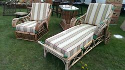 Antique stick wicker rattan porch furniture lounge chair table and chair