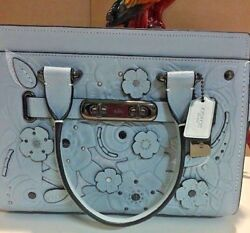Coach Swagger 27 With Tea Rose Tooling PALE BLUEDARK GUNMETAL STYLE NO. 11854