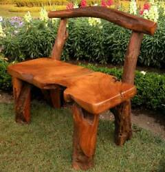 Natural Tree Trunk Wood Bench - Garden [ID 876]
